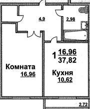 Продам 1 комнатную квартиру,  Луговое,  сдача дома в 2013 году